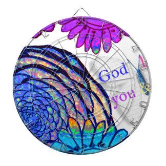 God loves you and me! dartboard
