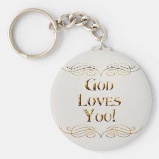 God loves You Basic Round Button Keychain