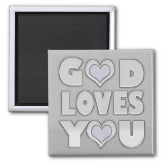 God Loves You Inspirational Square Magnet