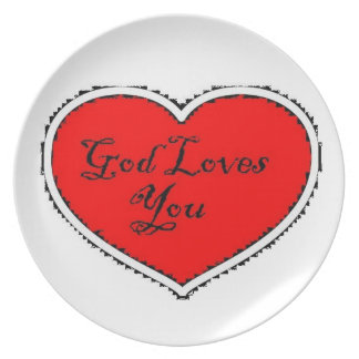 God loves you plate