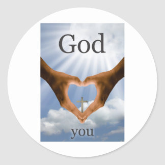 God Loves You Round Sticker
