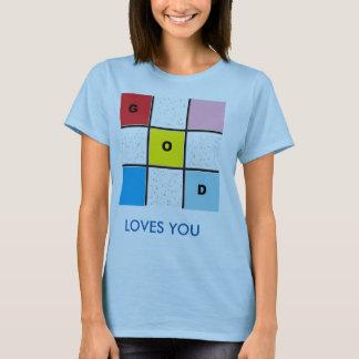 GOD LOVES YOU TIC TACK TOE BLUE BASIC T-SHIRT