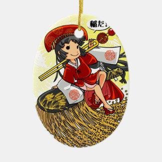 God lowering! Miyako way English story Omiya Ceramic Oval Ornament