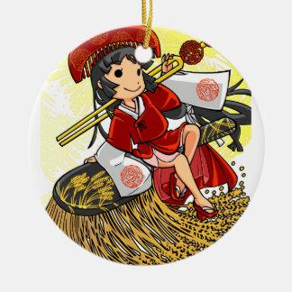 God lowering! Miyako way English story Omiya Round Ceramic Ornament