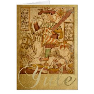 God Odin on his Horse Sleipnir - Yule Card