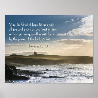 God of Hope, Romans 15:13 Bible Verse, Irish Coast Poster