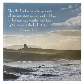 God of Hope, Romans 15:13 Bible Verse, Irish Coast Tile