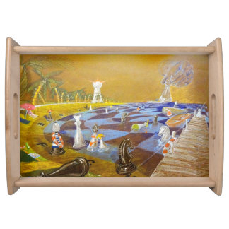 God Playing Chess Game Serving Tray