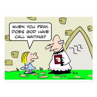 god pray call waiting postcard