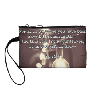 """God Quotes: Eph 2:8 -- """"Salvation by Grace"""" Coin Wallet"""