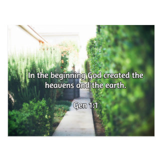 "God Quotes: Gen 1:1 -- ""In the Beginning"" Postcard"
