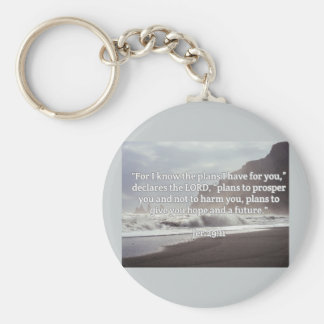 "God Quotes: Jer 29:11-- ""God's Plan For You"" Basic Round Button Keychain"