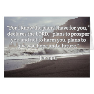 """God Quotes: Jer 29:11-- """"God's Plan For You"""" Greeting Card"""