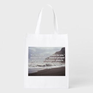 "God Quotes: Jer 29:11-- ""God's Plan For You"" Reusable Grocery Bags"