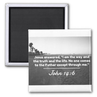 "God Quotes: John 14:6 -- ""The Way and the Truth"" Square Magnet"