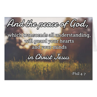 """God Quotes: Phil 4:7 -- """"Peace of God"""" Greeting Card"""