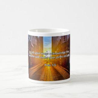 """God Quotes: Prov 3:6 -- """"Straight Paths"""" Coffee Mug"""