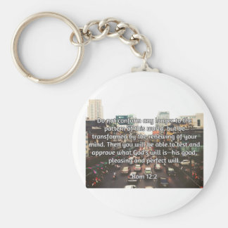"God Quotes: Rom 12:2 -- ""Don't Conform"" Basic Round Button Keychain"