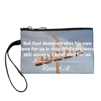 """God Quotes: Rom 5:8 -- """"Christ Died For Us"""" Coin Wallets"""