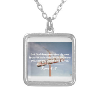 "God Quotes: Rom 5:8 -- ""Christ Died For Us"" Silver Plated Necklace"