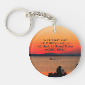 God raised us up with Christ Scripture Personalize Double-Sided Round Acrylic Keychain