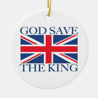 God Save the King with Union Jack Round Ceramic Ornament