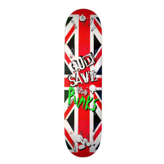 God Save the Punks Grunge Union Jack Safety Pin Skateboards