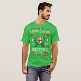 God Sent British Wife Christmas Ugly Sweater Shirt