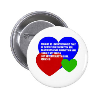 God So Loved the World Bible Verse 2 Inch Round Button