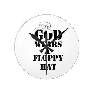 God Wears A Floppy Hat Design Two Clocks