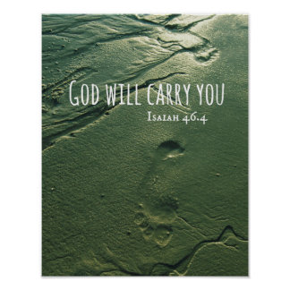 God Will Carry You with Sand Footprints Posters