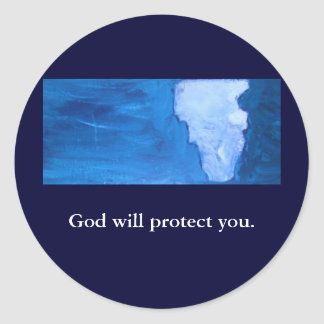GOD WILL PROTECT YOU ROUND STICKER