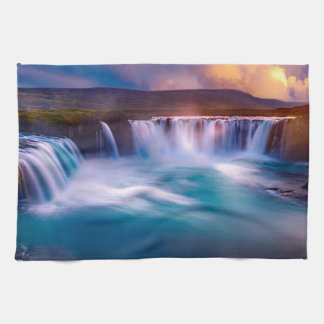 Goðafoss waterfall in Iceland Kitchen Towel