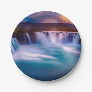 Goðafoss waterfall in Iceland Paper Plate