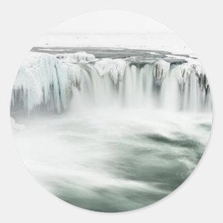 Godafoss waterfall, winter, Iceland Classic Round Sticker