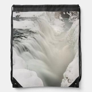 Godafoss waterfall, winter, Iceland Drawstring Bag
