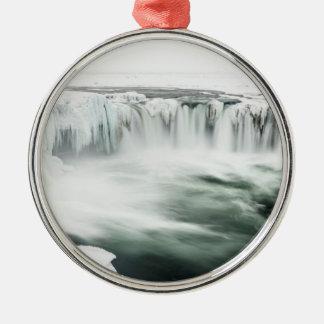 Godafoss waterfall, winter, Iceland Metal Ornament