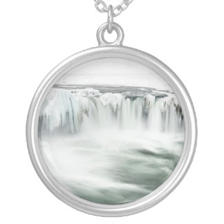 Godafoss waterfall, winter, Iceland Silver Plated Necklace