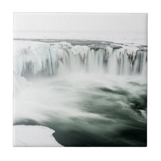 Godafoss waterfall, winter, Iceland Tile