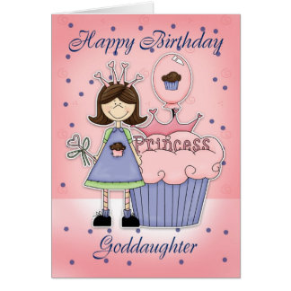 Goddaughter Birthday Card - Cupcake Princess
