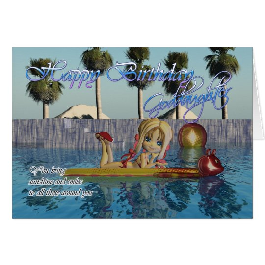 Goddaughter Birthday card, Moonies Cutie Pie pool Card