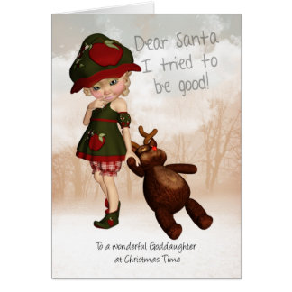 Goddaughter, Dear Santa Retro Cute Christmas Card