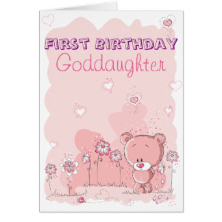 Goddaughter First 1st Birthday from Godparent Card