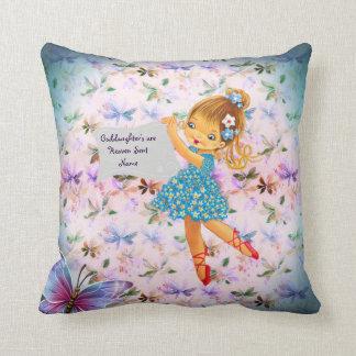 Goddaughter Gift Flower Fairy Communion Baptism Throw Pillow