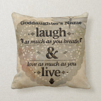 Goddaughter Gift Inspiring Angel Words Add Name Throw Pillow