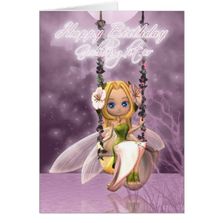 Goddaughter Happy Birthday cute fairy on flower sw Card