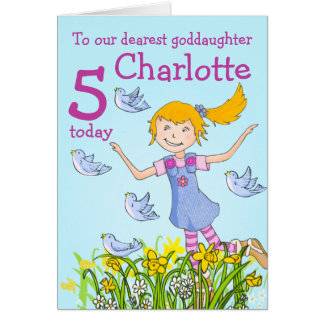 Goddaughter spring girl birds birthday age card