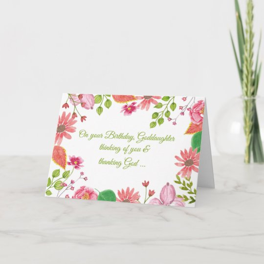 Goddaughter Watercolor Flowers Religious Birthday Card