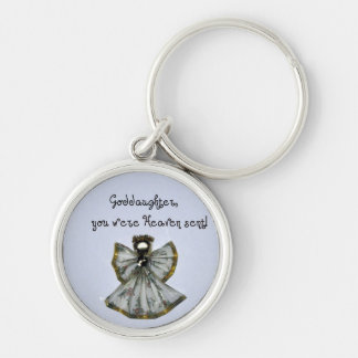 Goddaughter, you were Heaven sent! Silver-Colored Round Keychain
