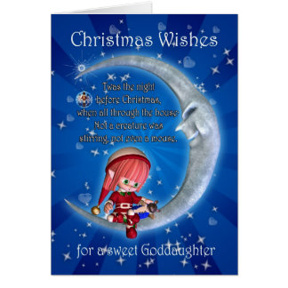 godddaughter, night before Christmas with elf an Card